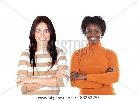 Two women isolated on a white background
