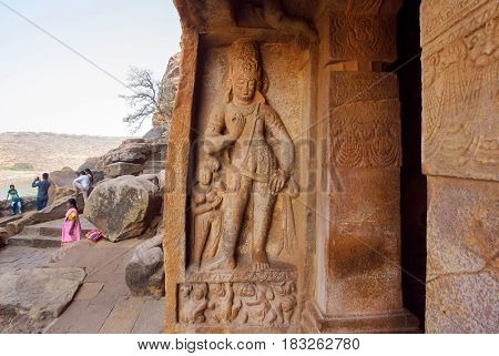 BADAMI, INDIA - FEB 10, 2017: Great example of Indian rock-cut architecture. Enter of the 6th century cave temple on February 10, 2017. Population of Karnataka state is 62,000,000 people