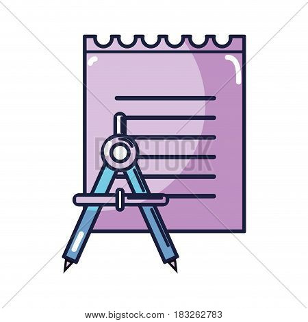 peper notebook with compass study icon, vector illustration