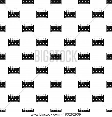 Four bottles of wine in a wooden box pattern seamless in simple style vector illustration