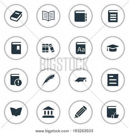 Vector Illustration Set Of Simple Knowledge Icons. Elements Book Cover, Tasklist, Notebook And Other Synonyms Journal, Bookmark And Textbook.