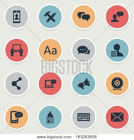 Vector Illustration Set Of Simple Blogging Icons. Elements Man Considering, Gazette, Notepad And Other Synonyms Conversation, Argument And Share.