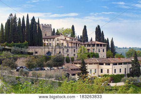 View on Castello Verazzano Greve in Chianti Italy