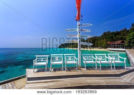 Signs On Pier At Koh Maiton Island, Phuket,thailand