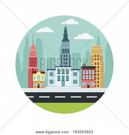 commercial street town buildings houses college market skyscrapers vector illustration