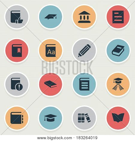 Vector Illustration Set Of Simple Education Icons. Elements Pen, Tasklist, Important Reading And Other Synonyms Notepad, Literature And Library.