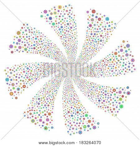 Cogwheel fireworks swirl rotation. Vector illustration style is flat bright multicolored iconic symbols on a white background. Object spiral combined from random design elements.