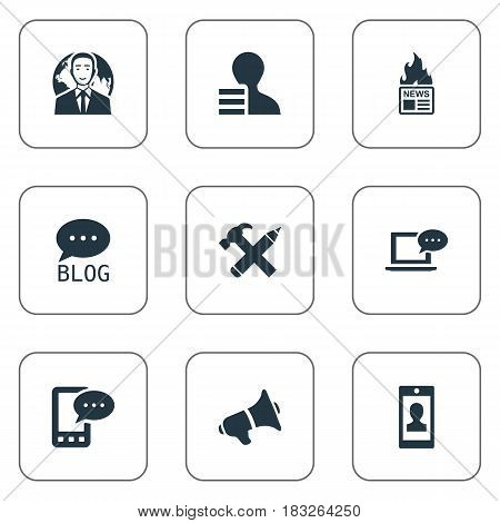 Vector Illustration Set Of Simple Newspaper Icons. Elements Site, Gain, Profile And Other Synonyms Forum, News And Hammer.