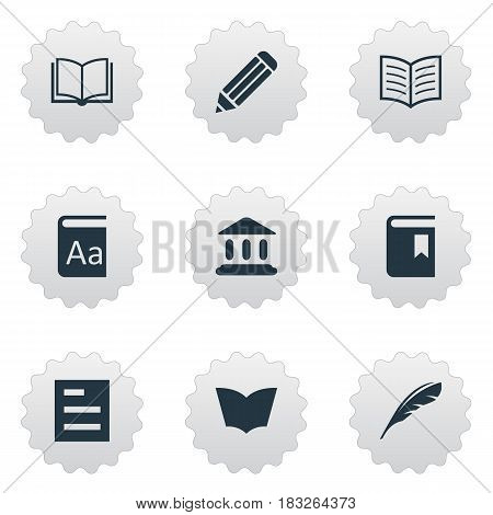 Vector Illustration Set Of Simple Knowledge Icons. Elements Pen, Book Page, Book Cover And Other Synonyms Textbook, Dictionary And Catalog.
