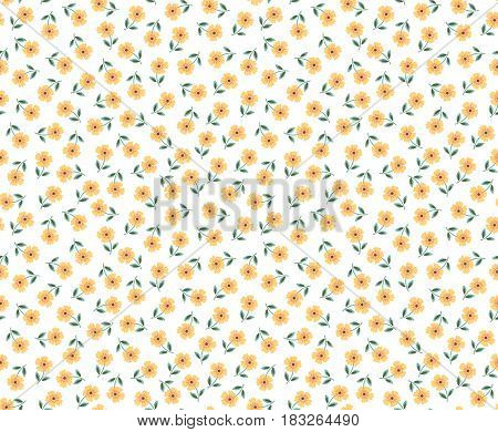Cute seamless pattern in small flower. Small yellow flowers. White background. Ditsy floral style. The elegant the template for fashion prints.