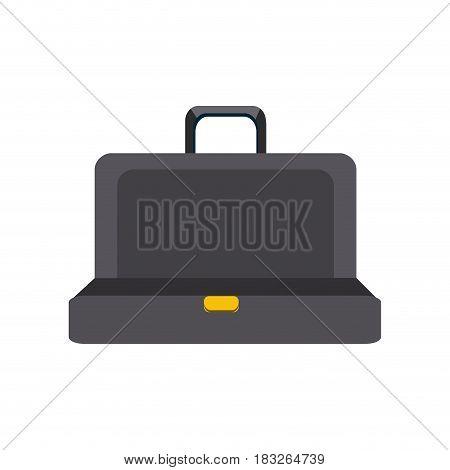 black elegant suitcase open, vector illustration design