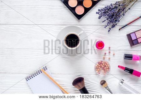 make up set with decorative cosmetics for beauty design on white woman desk background top view mock-up