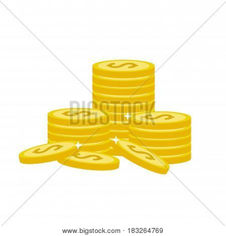 many gold coins money save, vector illustration