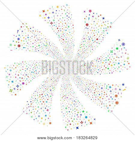 Confetti Stars fireworks swirl rotation. Vector illustration style is flat bright multicolored iconic symbols on a white background. Object whirlpool constructed from random design elements.