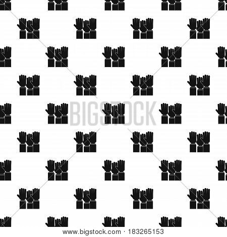 Different people hands raised up pattern seamless in simple style vector illustration