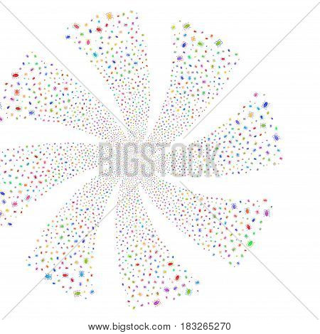Cucaracha fireworks swirl rotation. Vector illustration style is flat bright multicolored iconic symbols on a white background. Object whirlpool done from random design elements.
