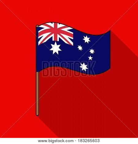 Australian flag icon in flat design isolated on white background. Australia symbol stock vector illustration.
