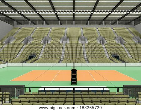 Beautiful Sports Arena For Volleyball With Olive Green Seats And Vip Boxes