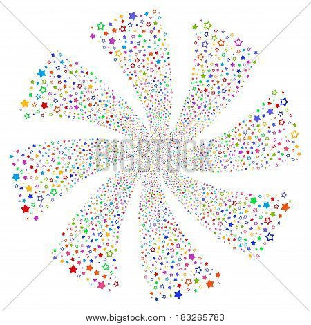Decoration Stars fireworks swirl rotation. Vector illustration style is flat bright multicolored iconic symbols on a white background. Object whirlpool created from random symbols.