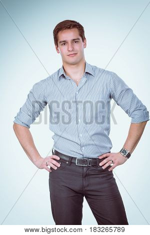 Portrait of young man isolated on white background .