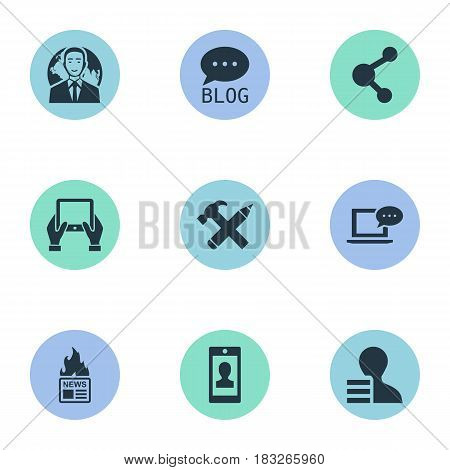 Vector Illustration Set Of Simple Blogging Icons. Elements Gazette, Gain, Notepad And Other Synonyms Hot, Man And Coming.