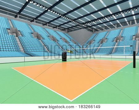 Beautiful Sports Arena For Volleyball With Sky Blue Seats And Vip Boxes