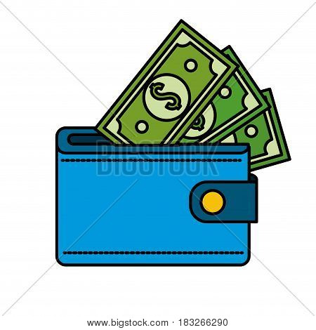blue wallet with green dolars bills inside, vector illustration