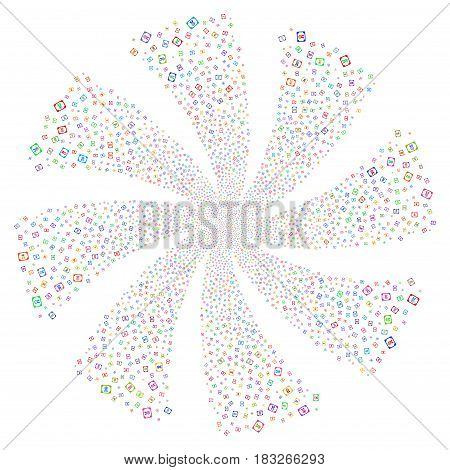Diploma fireworks swirl rotation. Vector illustration style is flat bright multicolored iconic symbols on a white background. Object spiral combined from random pictographs.