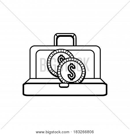 figure suitcase with gold coins money inside, vector illustration
