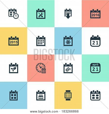 Vector Illustration Set Of Simple Calendar Icons. Elements Event, Almanac, Plant And Other Synonyms Calendar, Event And Reminder.