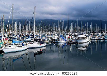 March 15, 2017 in Santa Barbara, CA:  Sail Boats and yachts taken at the Santa Barbara Marina where people can take their yachts out to sea or rent boats taken in Santa Barbara, CA