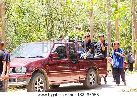 CHIANG RAI THAILAND - APRIL 19 : pickup carrying coffin to the graveyard on April 19 2017 in Chiang rai Thailand.