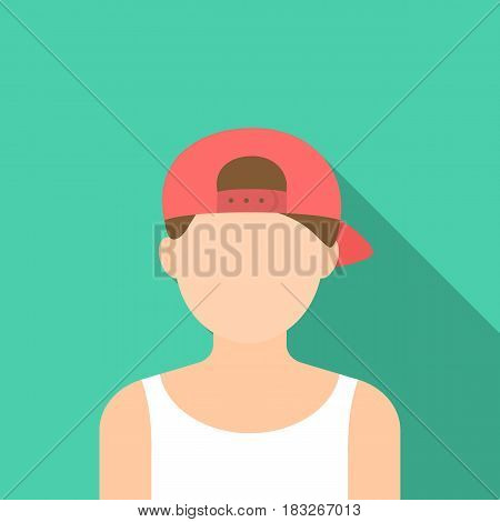 Boy in cap icon flat. Single avatar, peaople icon from the big avatar flat.