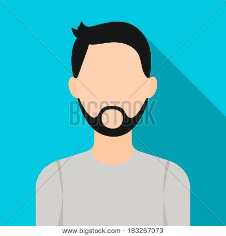 Man with beard icon flat. Single avatar, peaople icon from the big avatar flat.