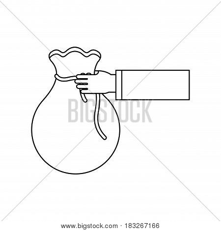 figure bag money in the hand person, vector illustration