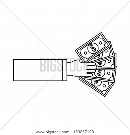 silhouette hand with green bill money, vector illustration design