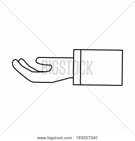 figure, stretched hand with formal suit, vector illustration design