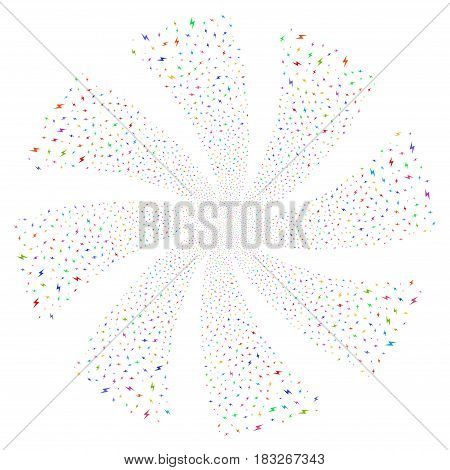 Electric Bolt fireworks swirl rotation. Vector illustration style is flat bright multicolored iconic symbols on a white background. Object whirl organized from random symbols.