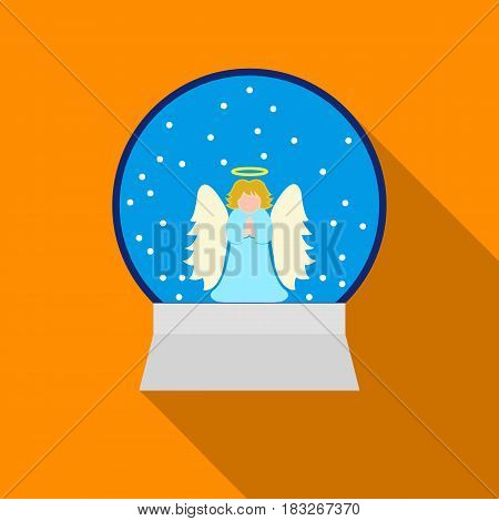 Christmas snow globe with an angel icon in flat style isolated on white background. Christmas Day symbol vector illustration.