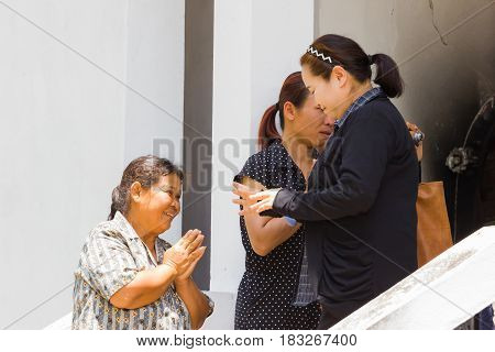CHIANG RAI THAILAND - APRIL 19 : unidentified asian family of dead man thank to people who coming to the funeral on April 19 2017 in Chiang rai Thailand.
