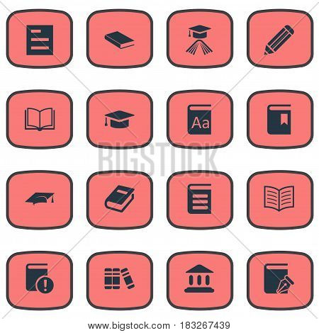 Vector Illustration Set Of Simple Books Icons. Elements Notebook, Encyclopedia, Blank Notebook And Other Synonyms Pen, Academy And Reading.