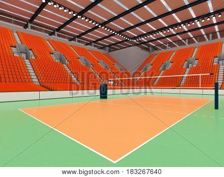 Beautiful Sports Arena For Volleyball With Orange Seats And Vip Boxes
