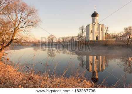 Horizontal View Of An Ancient Church At Dawn, A Frosty Morning, Early Spring