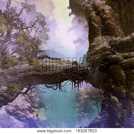 3D landscape Illustration which is observed rock formations with vegetation and mountains in the background shrouded by fog