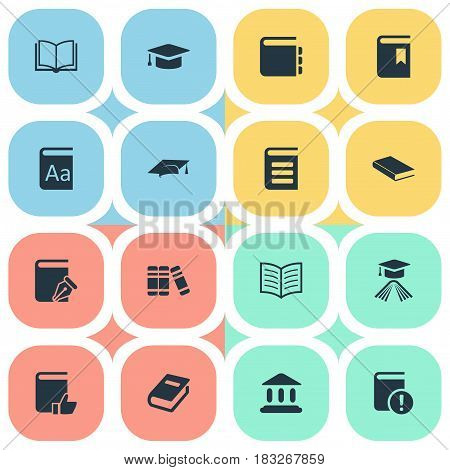 Vector Illustration Set Of Simple Books Icons. Elements Journal, Notebook, Academic Cap And Other Synonyms Academy, Academic And Cap.