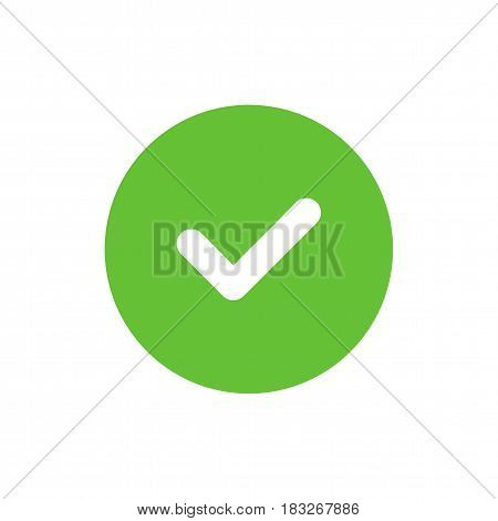 Green tick icon. Check mark symbol. Simple vector illustration.
