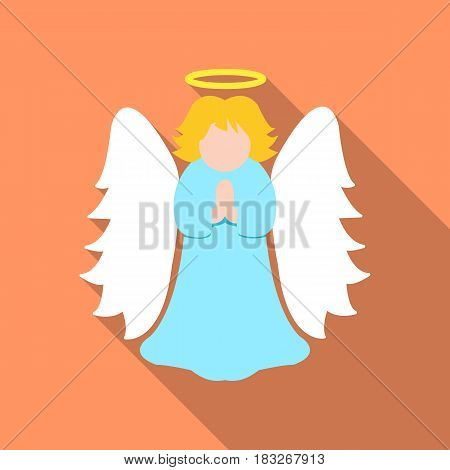 Christmas angel icon in flat style isolated on white background. Christmas Day symbol vector illustration.