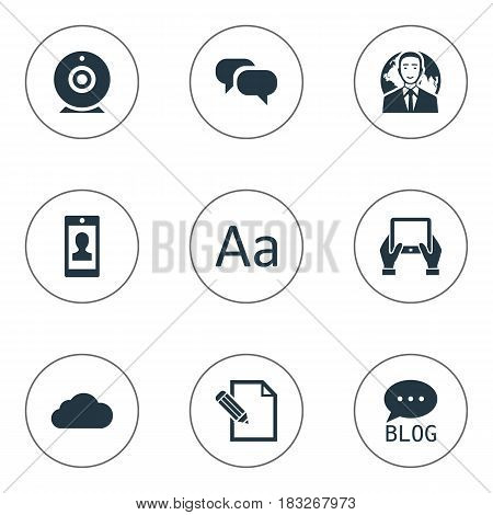 Vector Illustration Set Of Simple User Icons. Elements Gossip, International Businessman, Cedilla And Other Synonyms Typography, Writing And Blog.