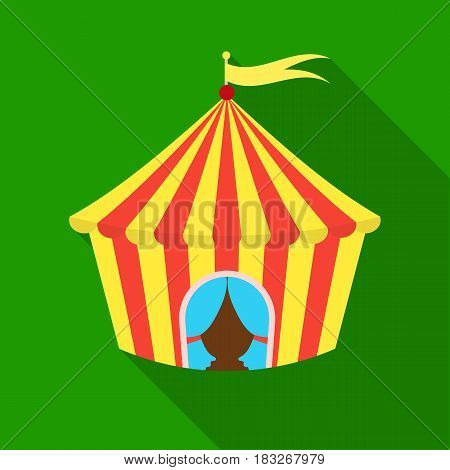 Circus tent icon in flat style isolated on white background. Circus symbol vector illustration.