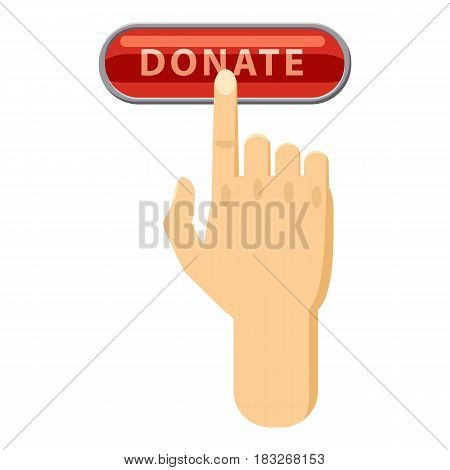Donate button pressed by hand icon. Cartoon illustration of donate button pressed by hand vector icon for web